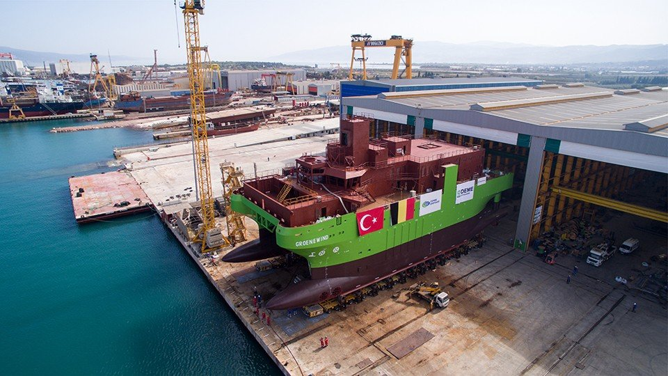 Launching of DEME's First SOV Groene Wind